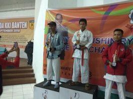 Ahmad Hasanudin 'peraih juara 1 Kumite Kadit Putra 57 Kg, Kejurda KKI Banten Karate-Do 2018 se-Provinsi Banten